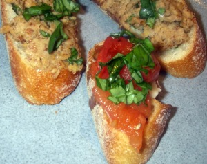 walnut and bean bruschett and tomato basil brushetta
