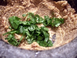 basil and bean paste