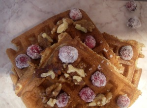 multigran waffles with candied cranberries