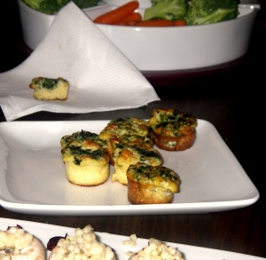 mini frittatas and stuffed mushrooms