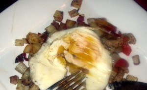 egg yolk and healthy breakfast hash