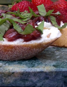 strawberry balsamic jam bruschetta