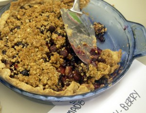 cherry berry pie with crumble topping