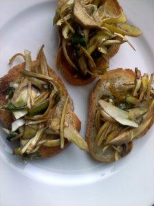 baby artichoke crostini
