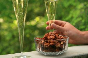chipotle spiced walnits and champagne