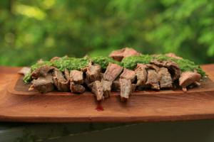 flank stake grilled with pesto