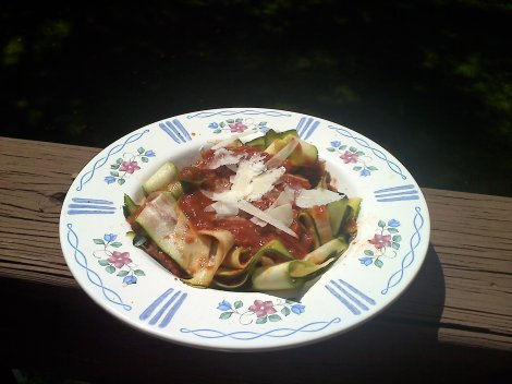 zucchini ribbons with meat ragu