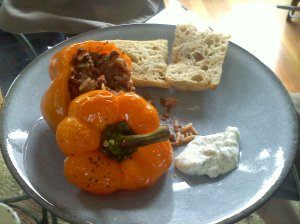 beef and mint stuffed pepper