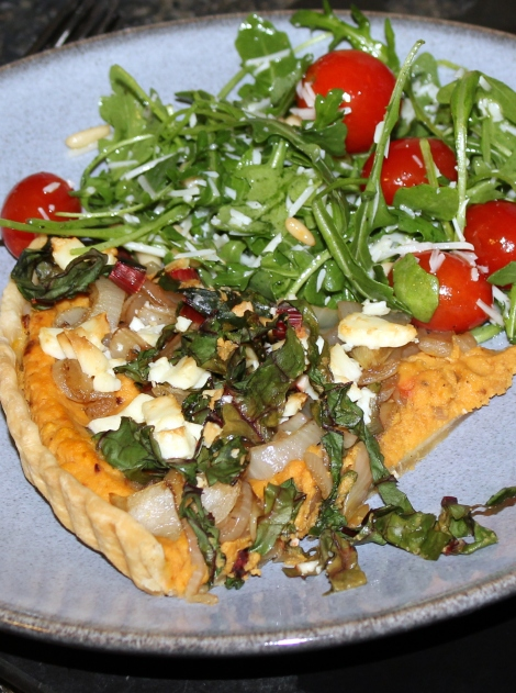 french pumpkin tart with feta cheese