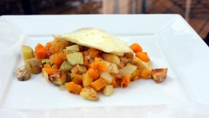 vegetable hash and egg supper