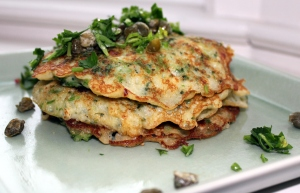 broccoli caper pancakes brunch