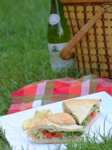 picnic basket sandwich wine