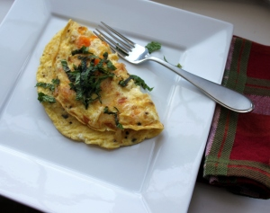 omelet filled with squash and cheese