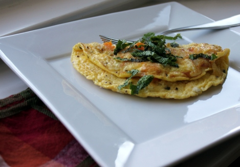 omelet with buternut squash feta cheese and mint