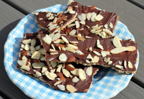 matzo chocolate toffee with almonds