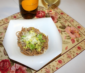 whole wheat pasta with celery and parmesan